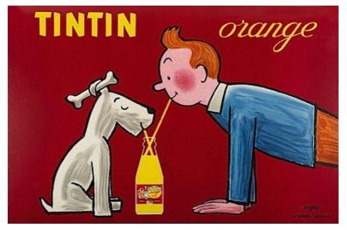 Tintin and Dog Snowy Orange Drink Vintage Poster Advertisement Decoration