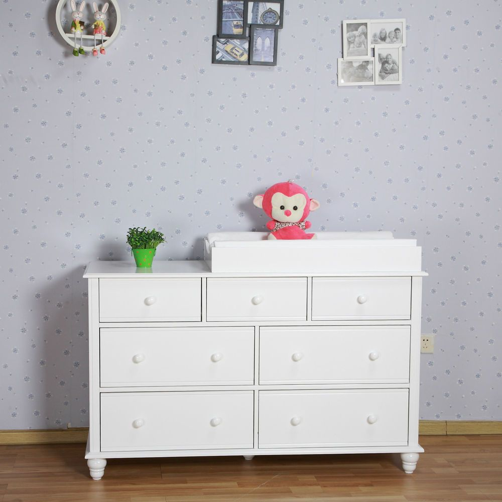 Lovely NZ Pine Baby Change Table 7 Chest Of Drawers Dresser Free Change Pad   White