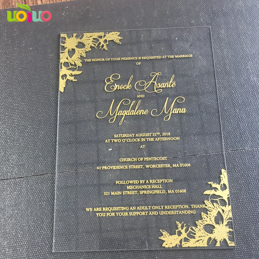30pcs Newest Transparent Glass Acrylic Wedding Invitation Card Gold And Rose Gold Word Pr Acrylic Wedding Invitations Wedding Invitation Cards Invitation Cards