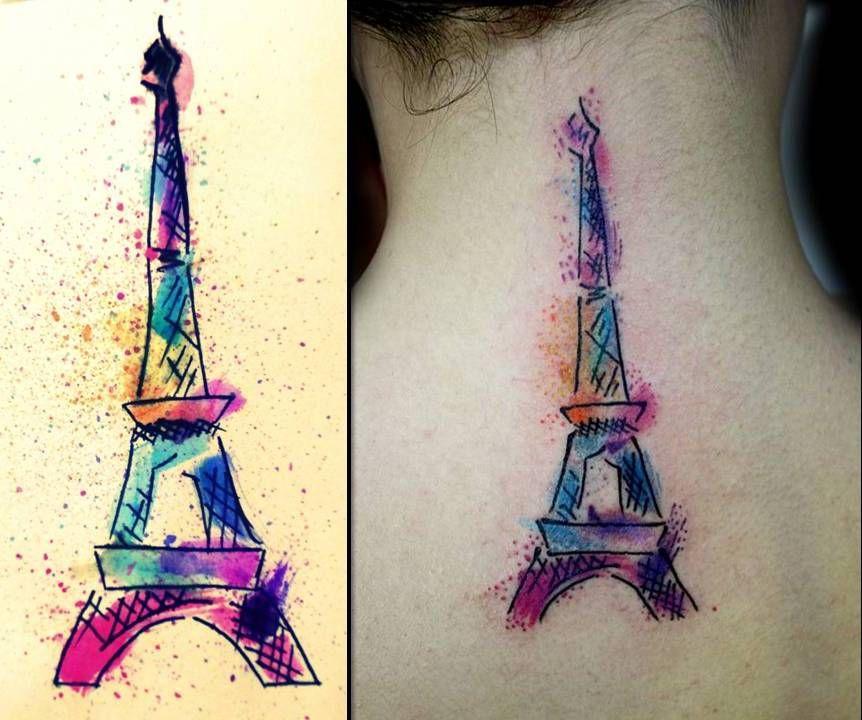 tatuagem tatto tatoo aquarela torre eifel colorido colors artistico