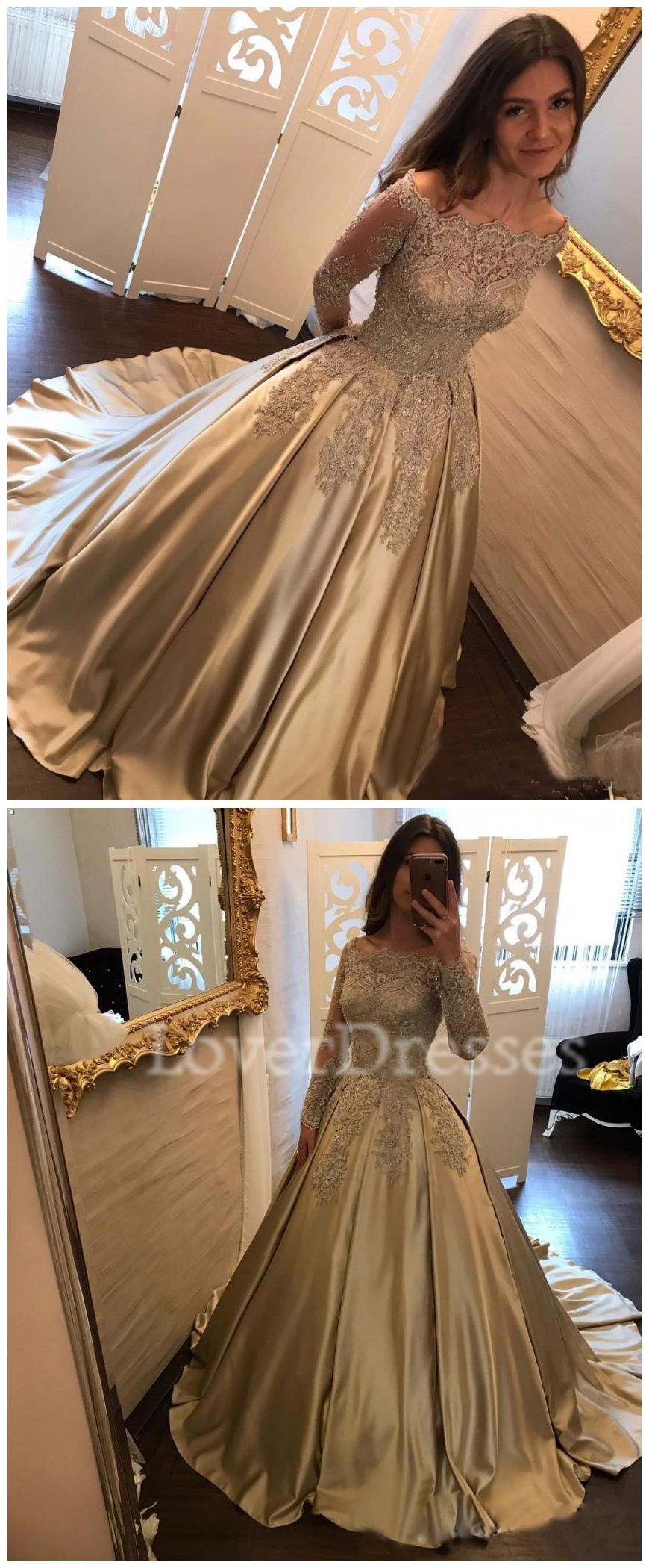 Long sleeve gold lace a line long evening prom dresses gold