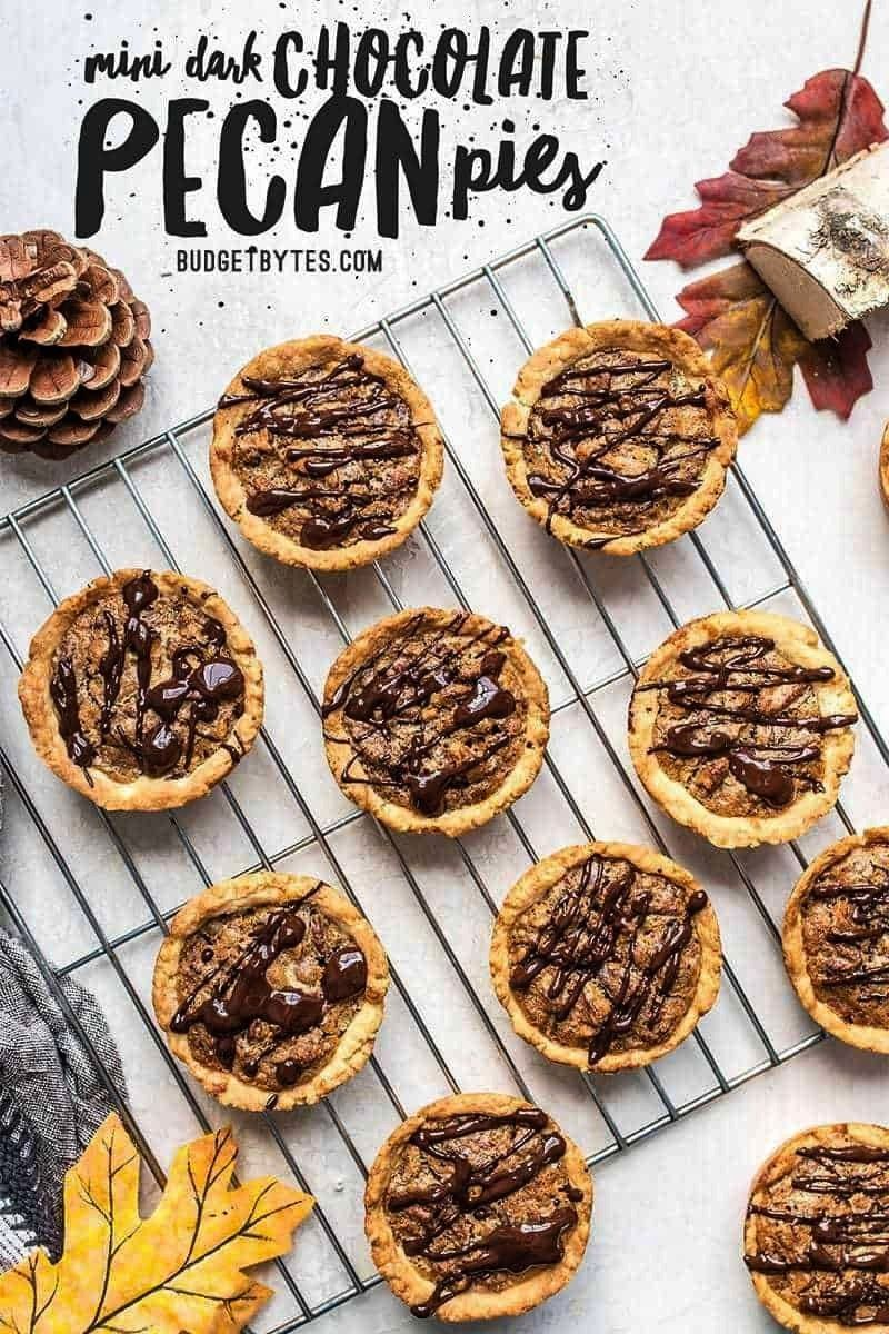 easy Mini Pecan Pies studded with dark chocolate make the perfectly balanced and pre-portioned dess