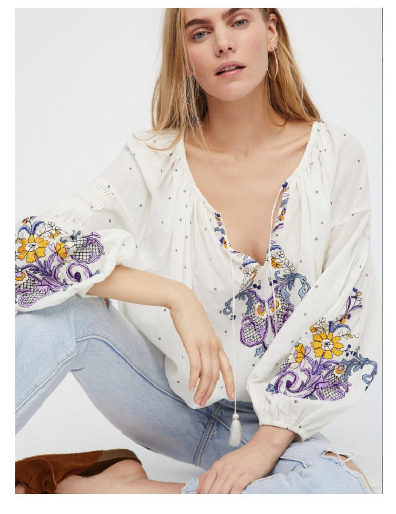 b34ba27837b9 Free people White Show Love Purple Embroidered Boho Peasant Tunic Blouse  top XS #FreePeople #Blouse #ANY