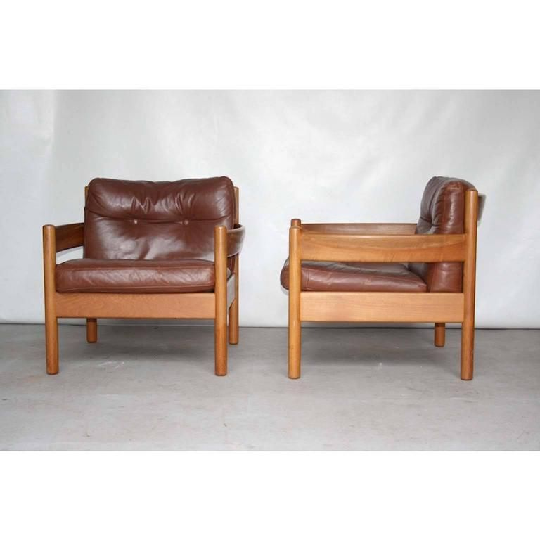 Lodge Or Cottage Style Mid Century Scandinavian Leather Lounge Chairs 1960s 3 Armchair Vintage Leather Lounge Chair Armchair