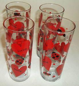 4 Valentines Drinking Glasses Or Vases Love Bug New