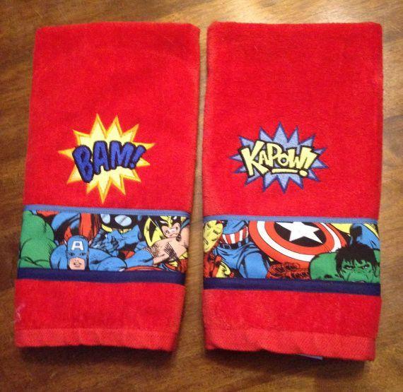 set of 2 super hero avengers inspired bathroom hand towels | hand