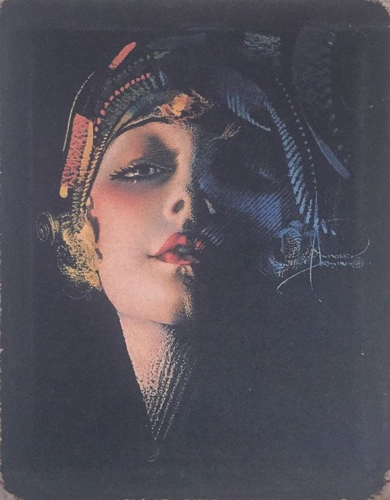 Rolf Armstrong Flapper Portrait 20 S Painting Print On Canvas