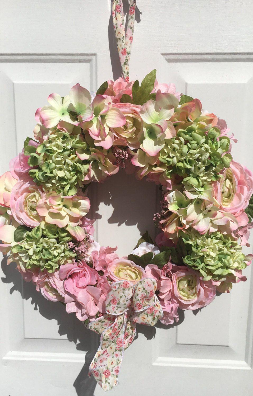 Pink Flower Wreath Hydrangea Wreath Spring Front Door Wreath