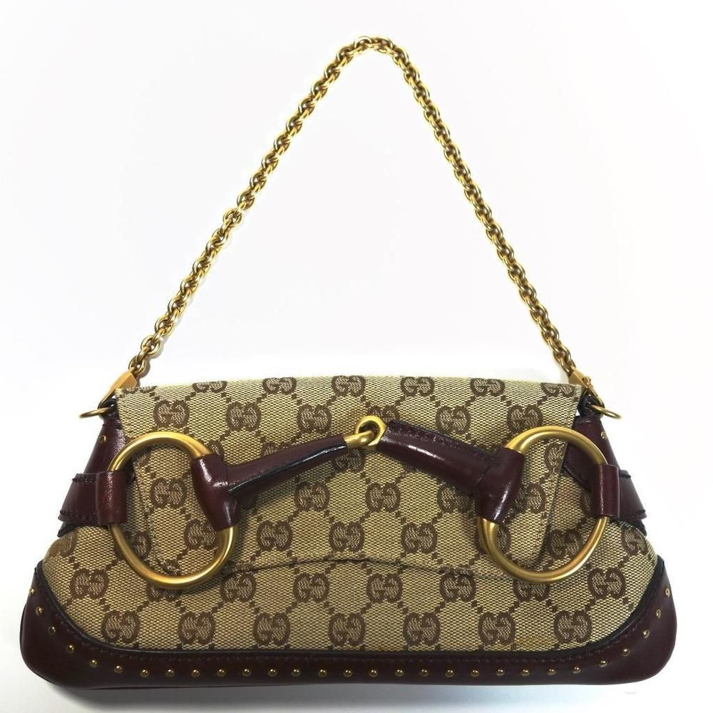 Gucci Tom Ford Horsebit Maroon Studded Monogram Clutch Shoulder Bag   eBay 39d86ae90b