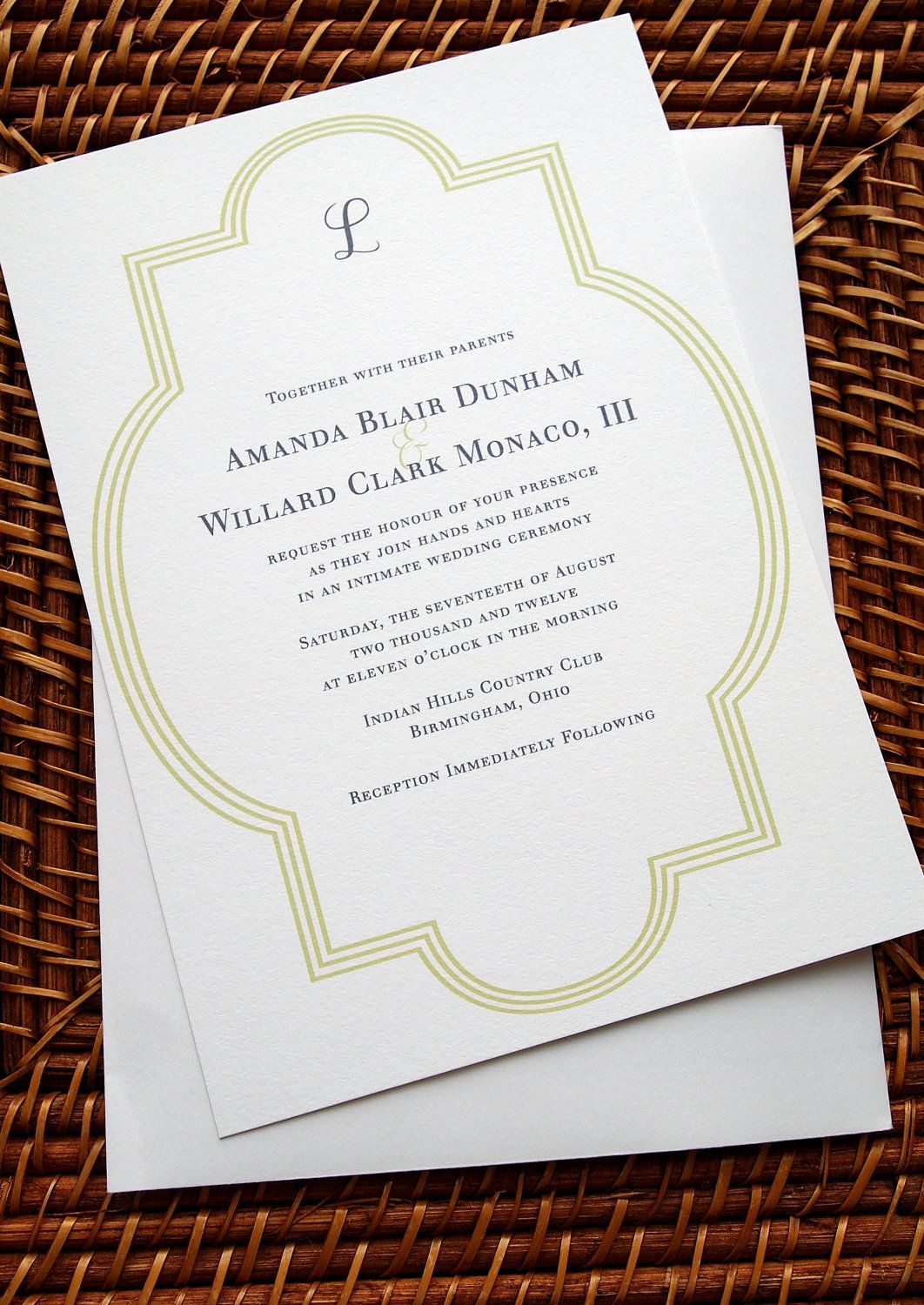 SAMPLE Country Club Wedding Summer Invitations Suite