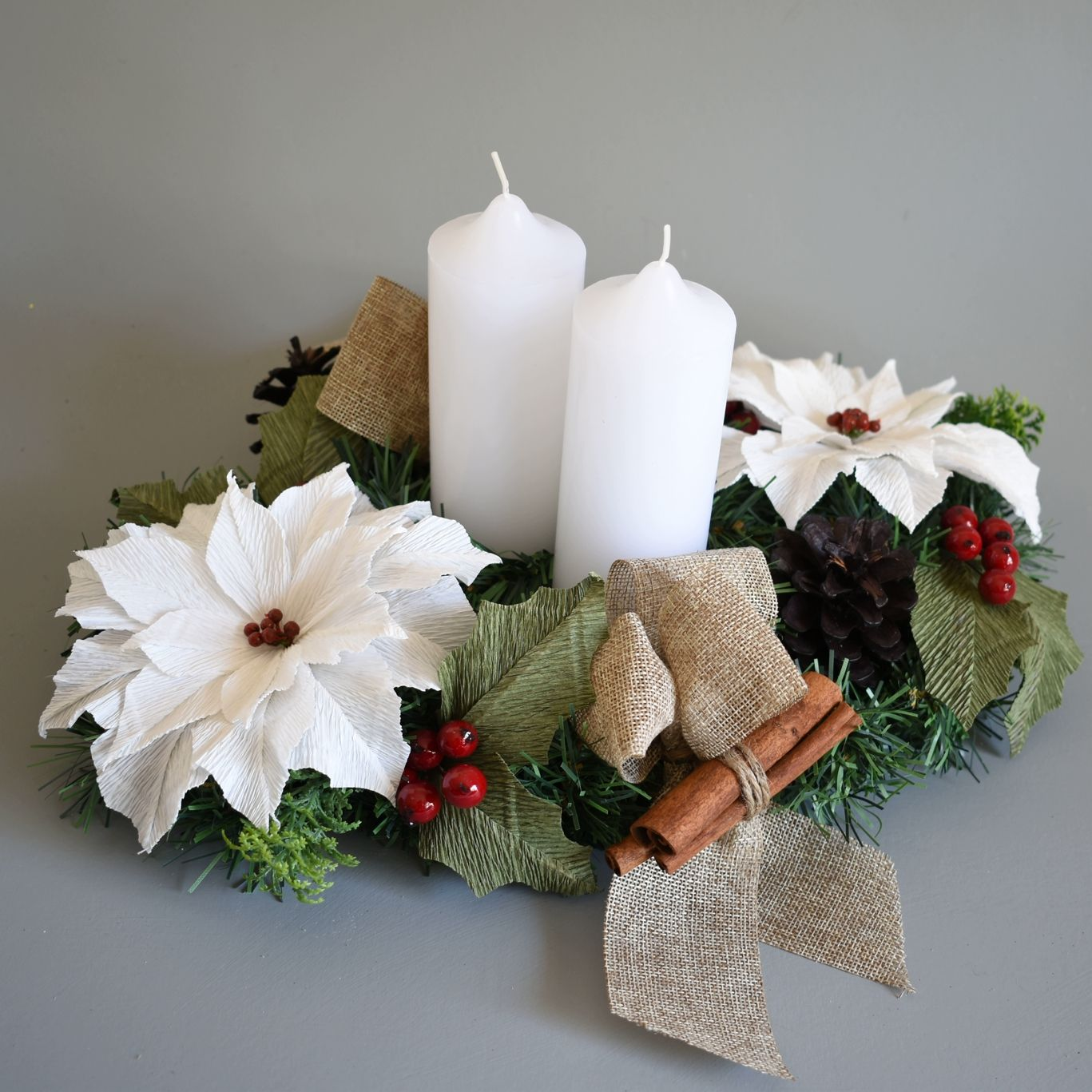 Christmas Table Centre With White Poinsettias The Flower And Craft Boutique Paper Flowers Diy Paper Flowers Crafts
