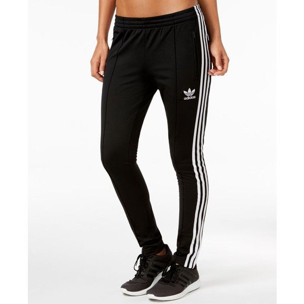 adidas Originals Super Girl Track Pants ($60) ❤ liked on Polyvore featuring activewear, activewear pants, black, track pants, adidas activewear, adidas and adidas sportswear