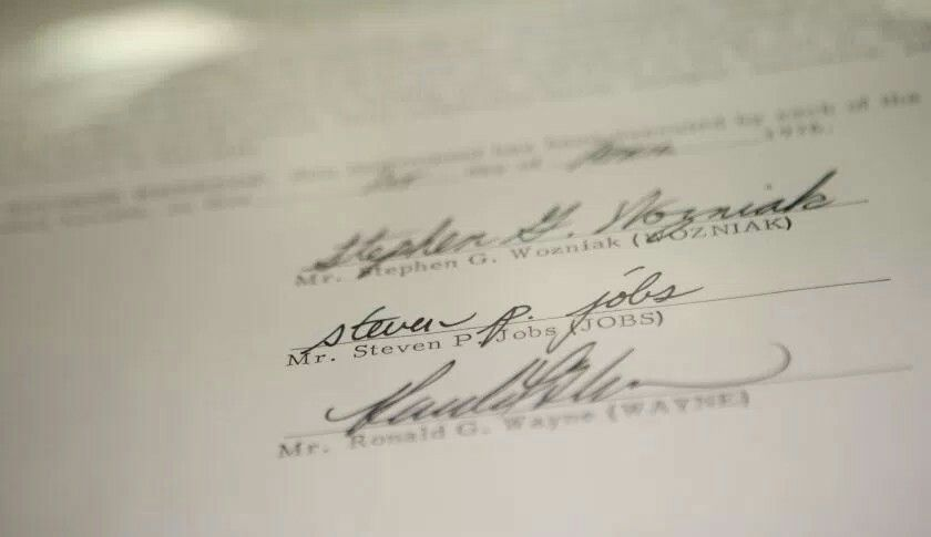 The Apple Inc founding partnership agreement signed by Steve