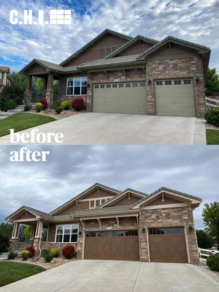Before After Garage Door Transformation Overlay Carriage House In 2020 Carriage Style Garage Doors Carriage House Garage Doors Carriage House