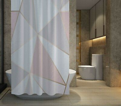 HOT SALE Pink Grey  Gold Geo Shower Curtain size 60x72  72x72
