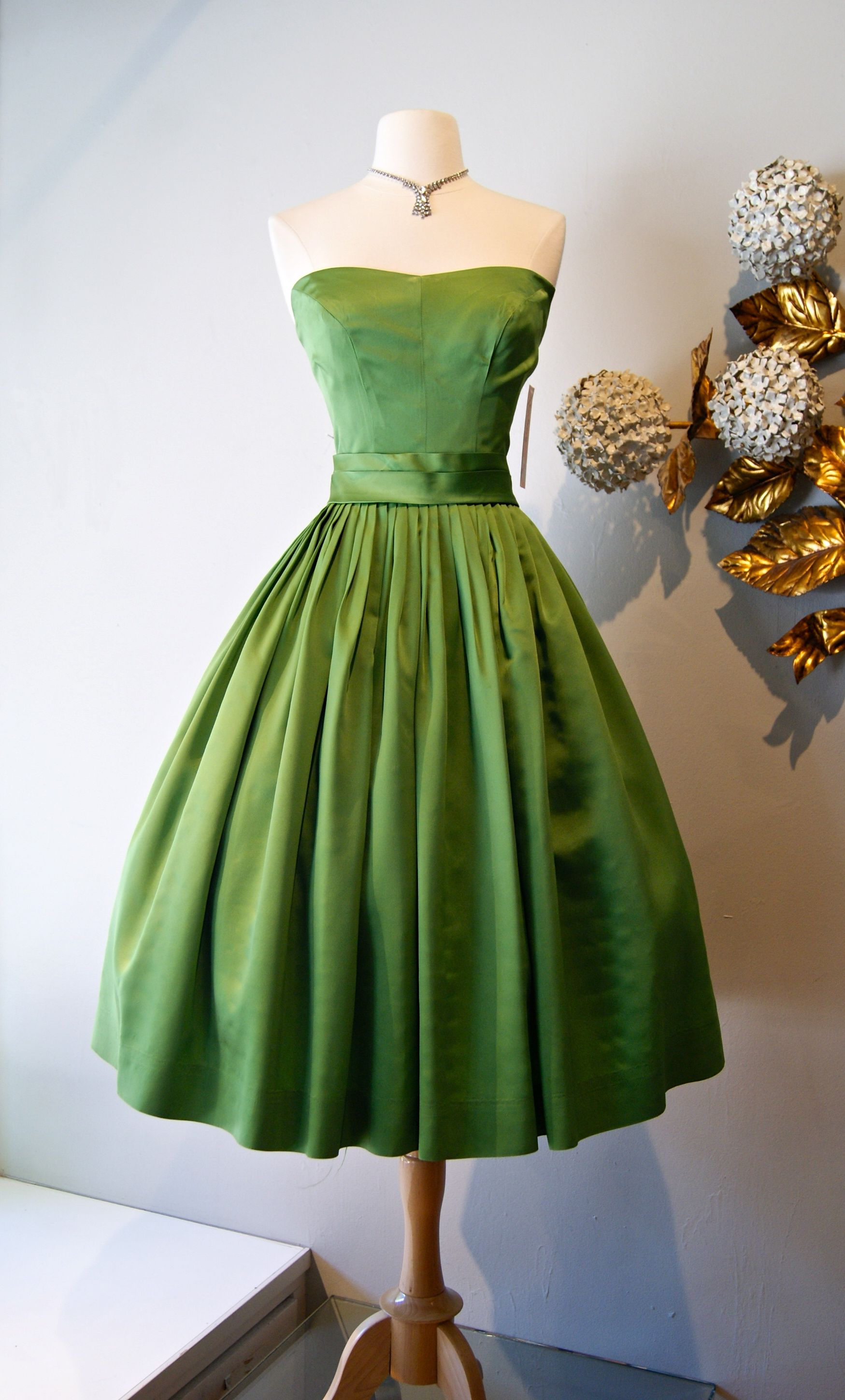 Vintage dress moss green us party dress xtabayvintage
