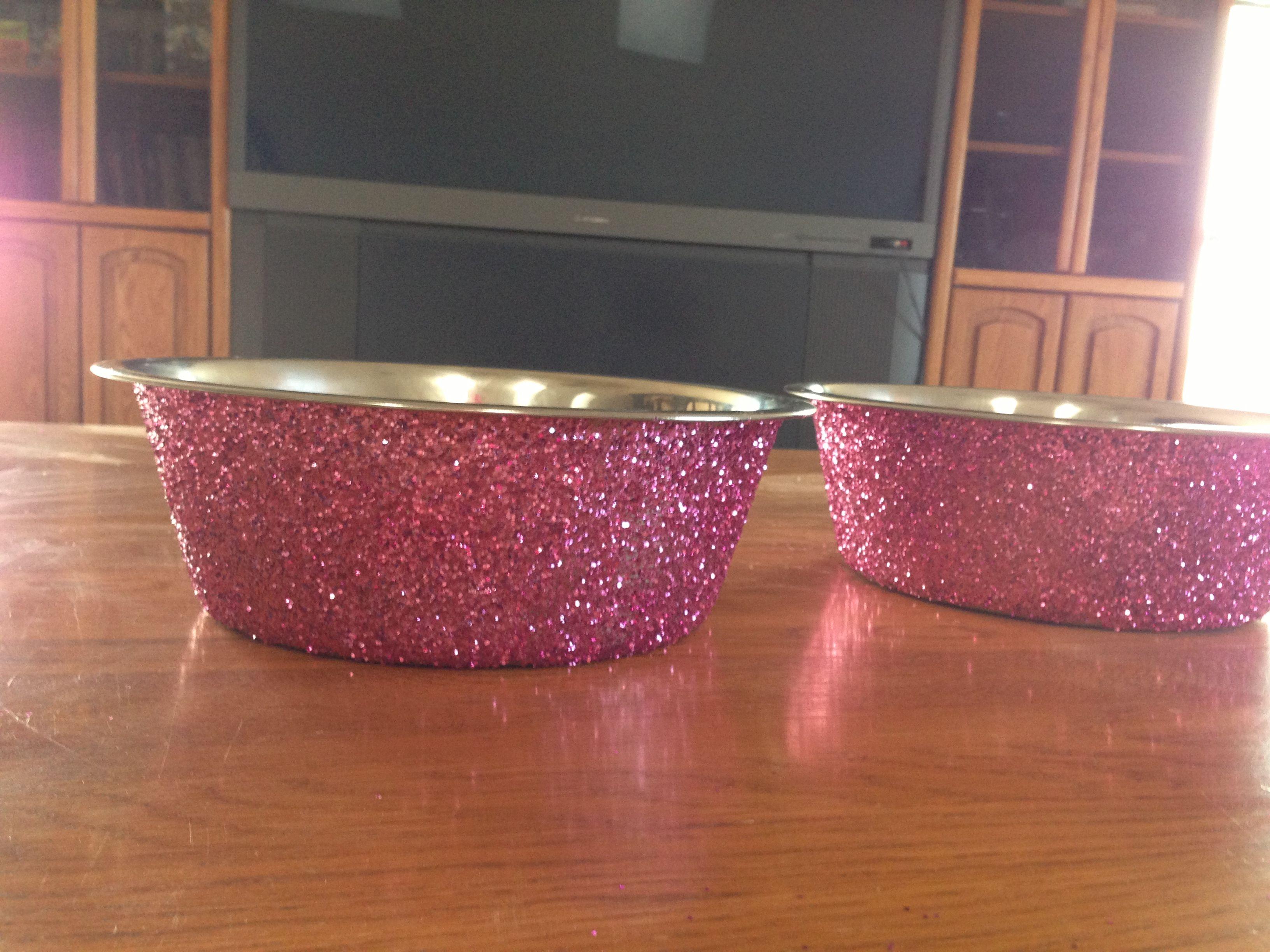 Diy glitter dog bowl pawsable pinterest acrylics for Glitter bowl