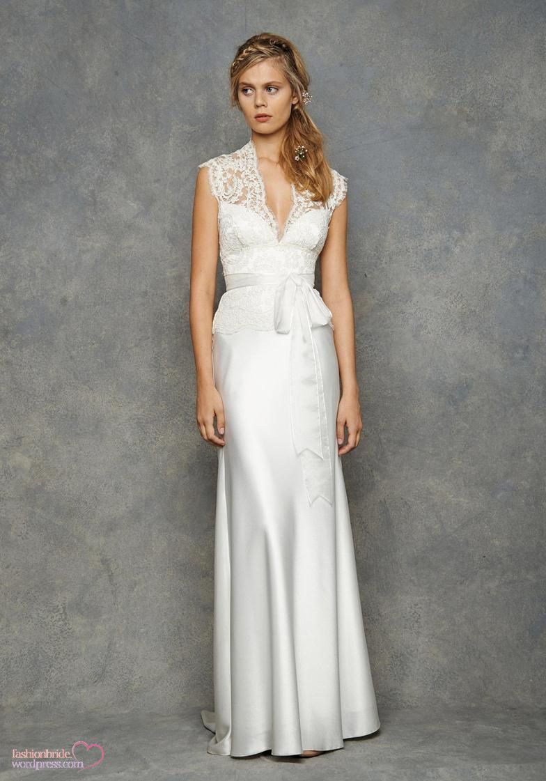 Pretty lace along the neckline of this wedding dress