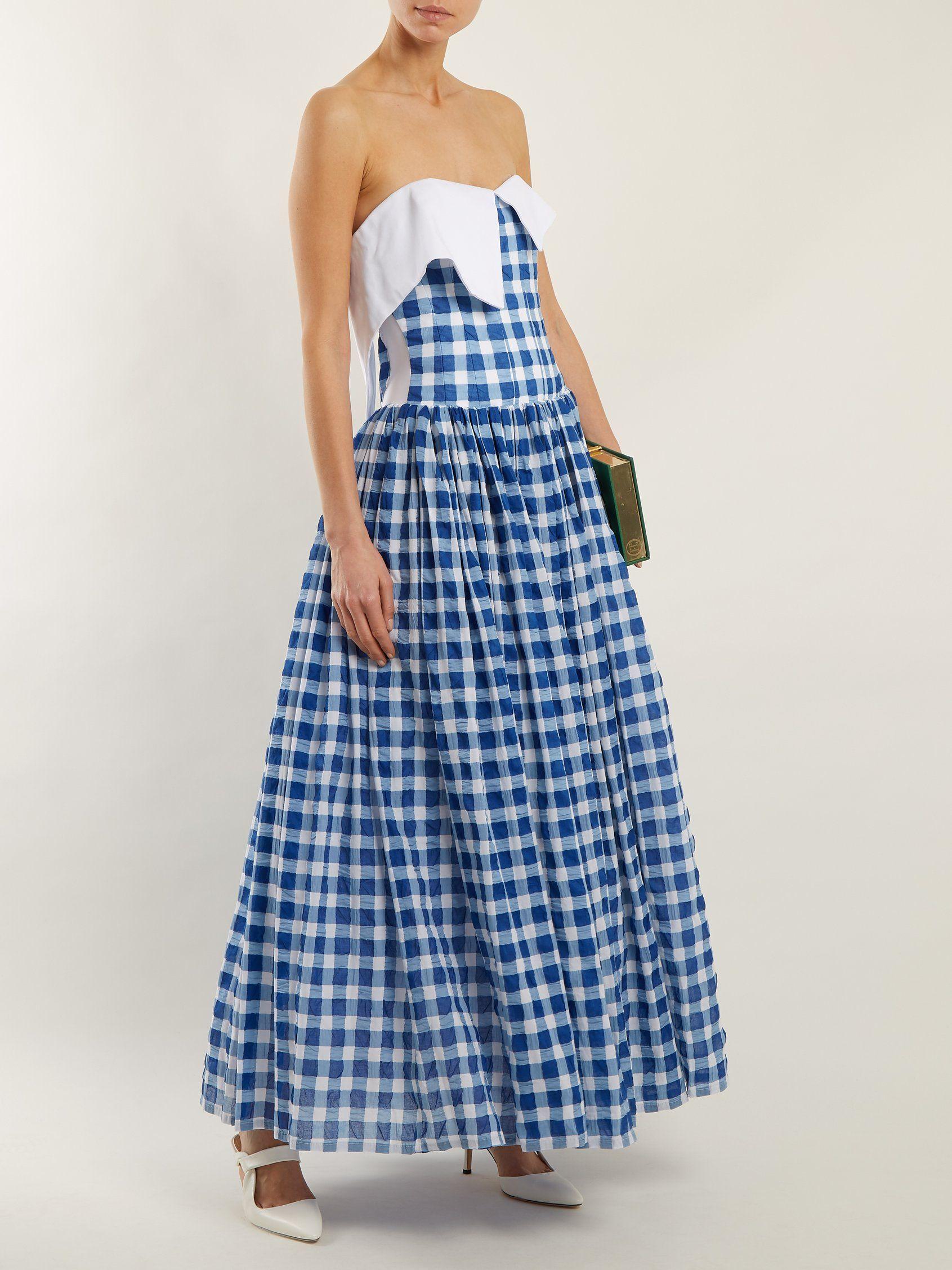 Strapless gingham cotton-seersucker dress Natasha Zinko T3ES9Hy7z