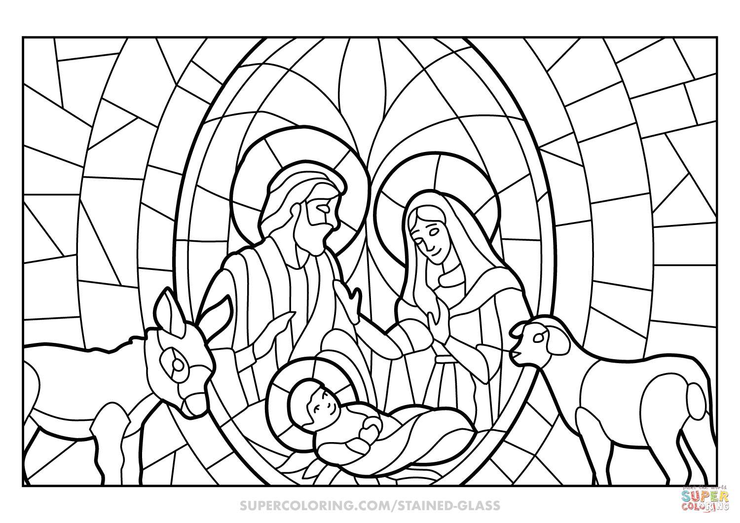 Christmas Nativity Scene Stained Glass Coloring Page Free Printable Coloring Pag Nativity Coloring Pages Printable Christmas Coloring Pages Nativity Coloring