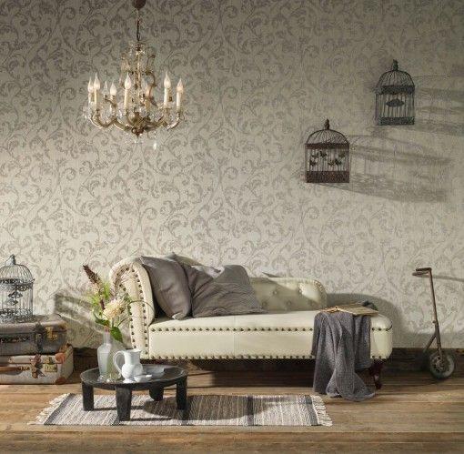 Vliestapete Ranke Vintage creme AS Creation 32528-4 Barock Tapeten - wohnzimmer tapeten braun beige