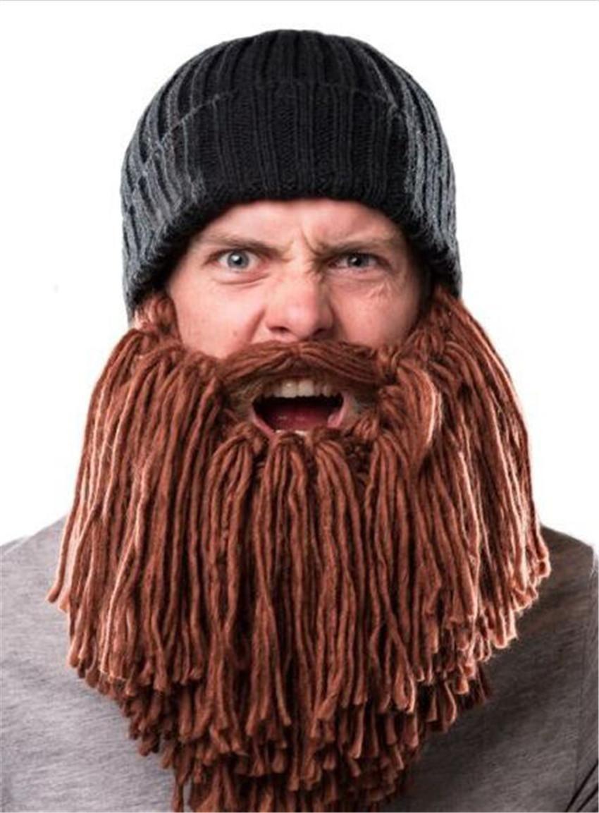 New Big Beard Knitted Hats for Children Adult Winter Knitted Novelty Beanies  Hip Hop Hats Fashion Warm Skull Mask Beard Hats 20d2f17c35d