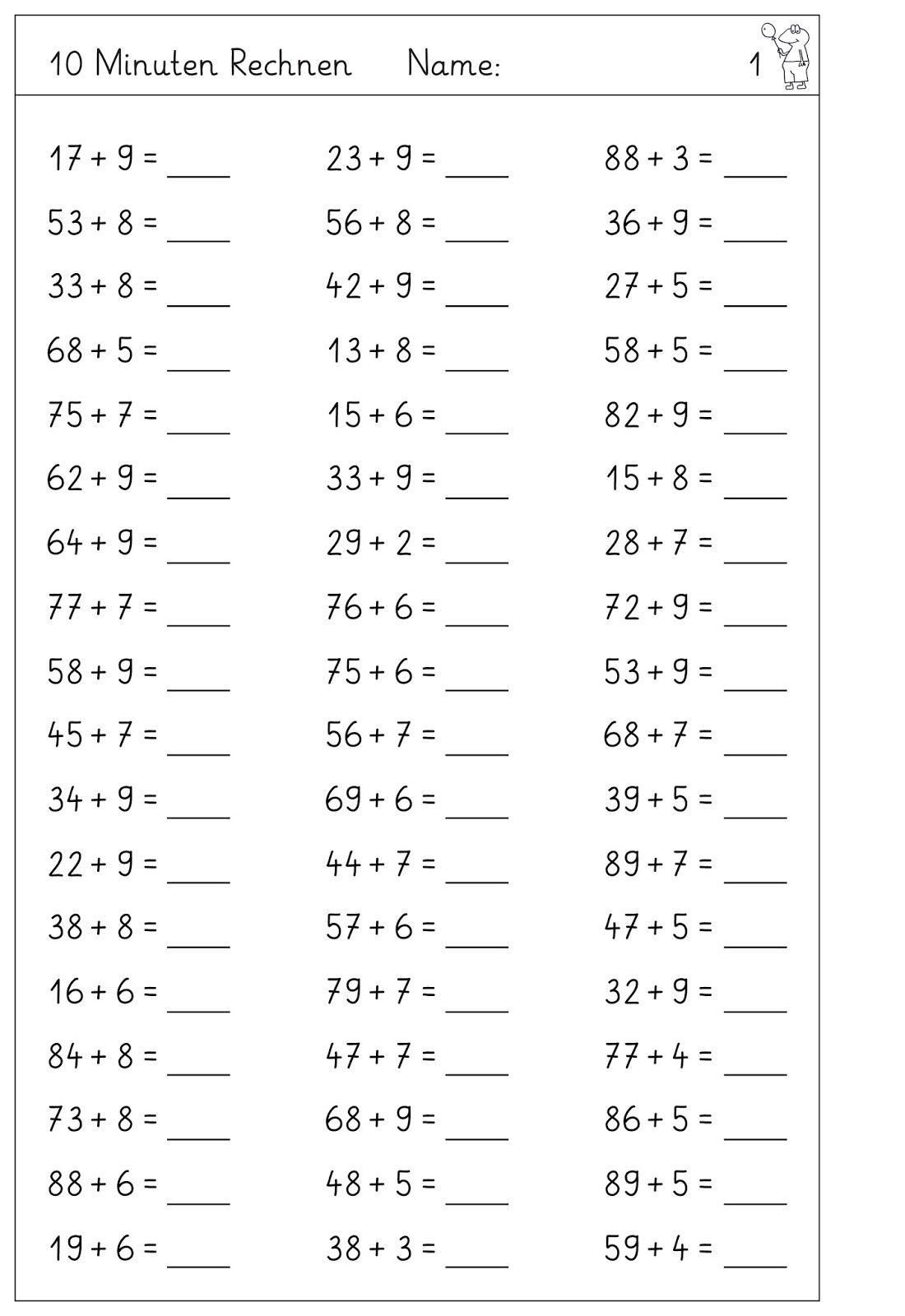 Klasse Grundschule Mathe NEU: Rechnen lernen und üben bis 100 2