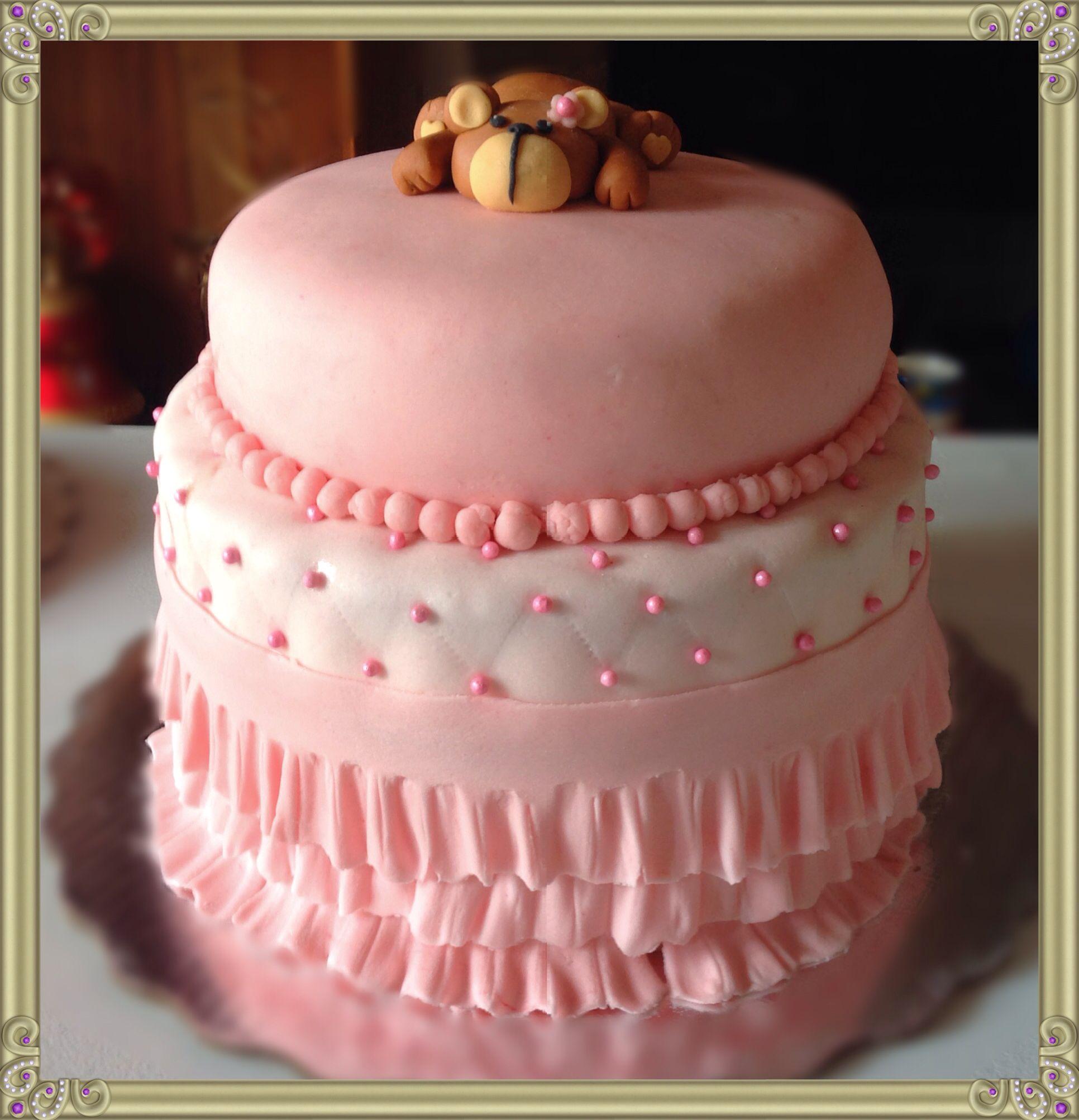 Hermoso Pastel Para Un Elegante Baby Shower Con Olanes Y Una Hermosa Osita,  Fondant Cake