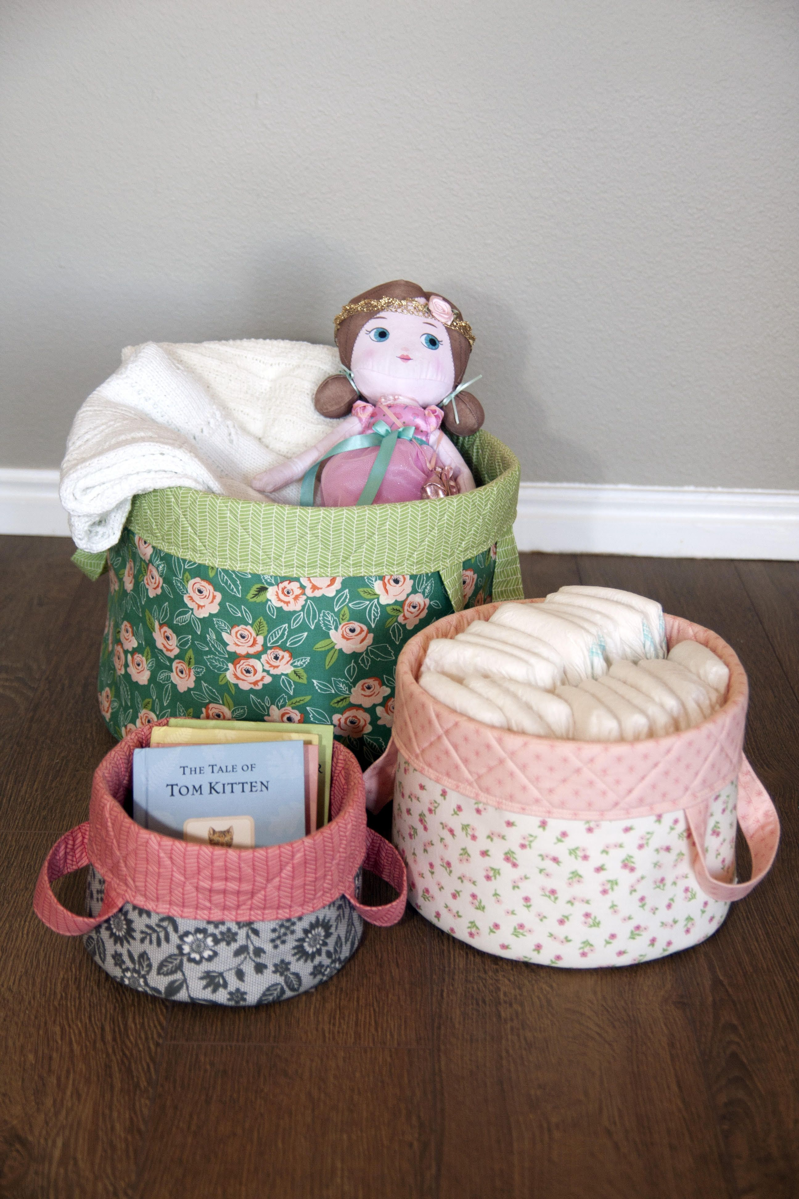 Olivia's Baskets, Soft and Stable, Sewing Pattern, Round Baskets