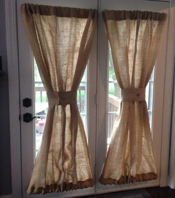 Burlap Sheers French Door D Curtains Country Window Treatment Panel Lined Custom Made To Order This Listing Is For A