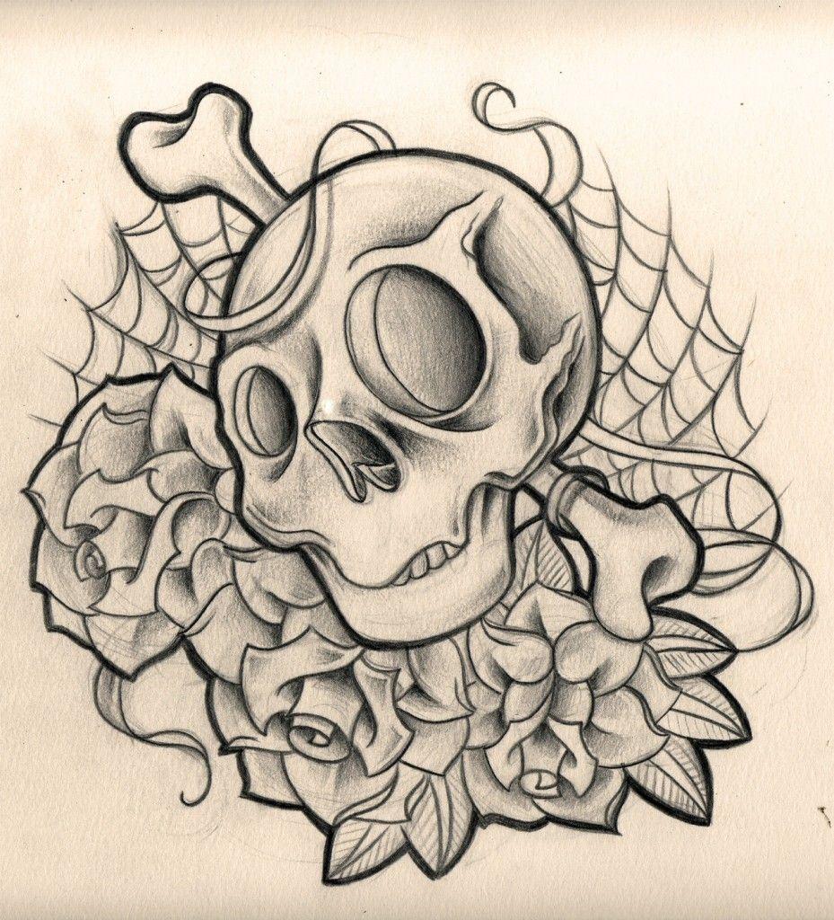 New School Tattoo Google Search Skull Rose Tattoos Skulls Drawing Skull Tattoo Flowers