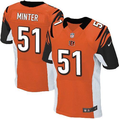 mens nike cincinnati bengals 51 kevin minter elite orange alternate nfl jersey