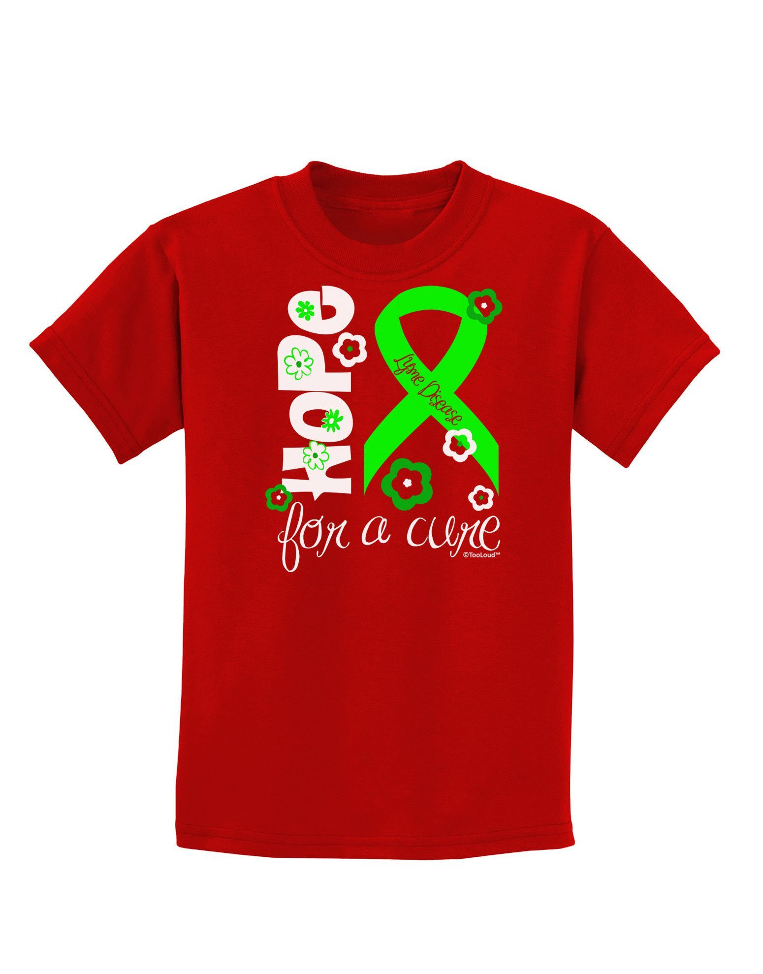 TooLoud Hope for a Cure - Lime Green Ribbon Lyme Disease - Flowers Childrens Dark T-Shirt