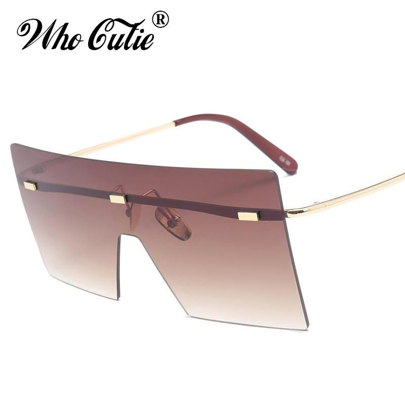 553f79d14b90 WHO CUTIE 2018 Oversized Rimless One Piece Pink Sunglasses Women Retro  Vintage Big Square Frame Rays Shades OM458