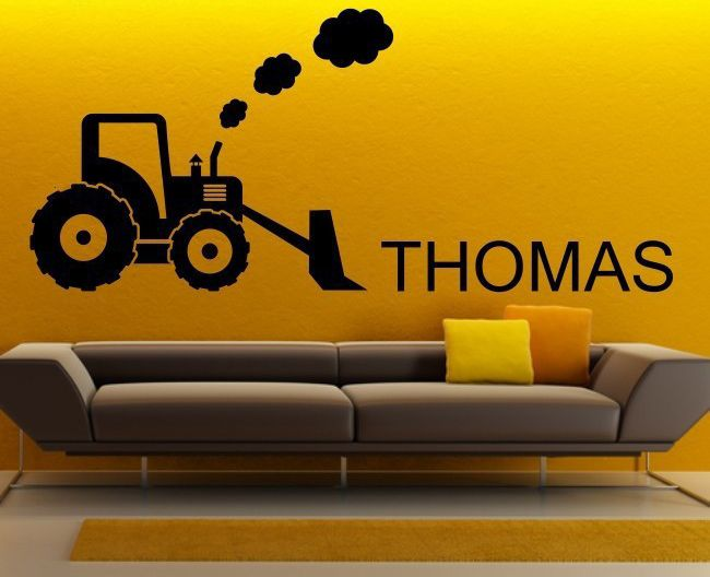 Custom Vinyl Wall Decal Bulldozer Excavator Tractor with ...