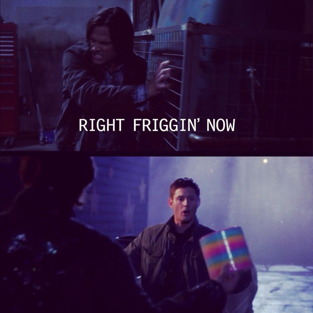 "Screen Shots from Supernatural Season 7 Episode 14 ""Plucky Pennywhistle's Magic Menagerie"" I love Dean's pure joy from the giant slinky! :)"