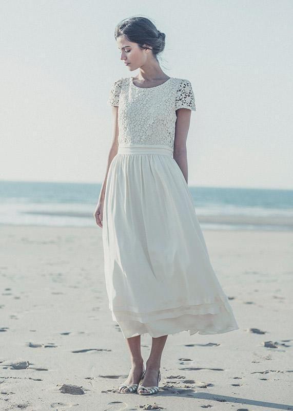 Wedding Dresses Buy Online 2015 Tea Length Lace Boho Beach Wedding ...