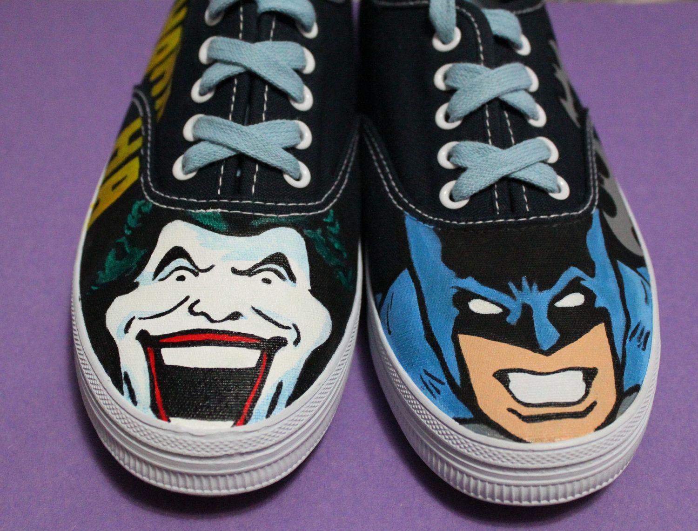 1ea53dde3f4c Ready to Ship Classic Batman and Joker Painted Shoes