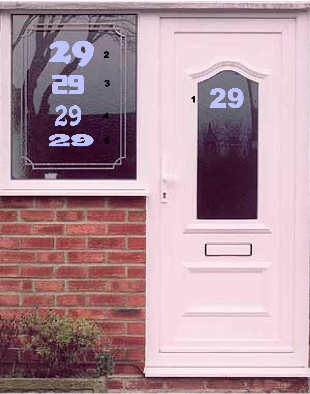 Vinyl Etch Etched Frosted Glass Effect Door Numbers Self Adhesive