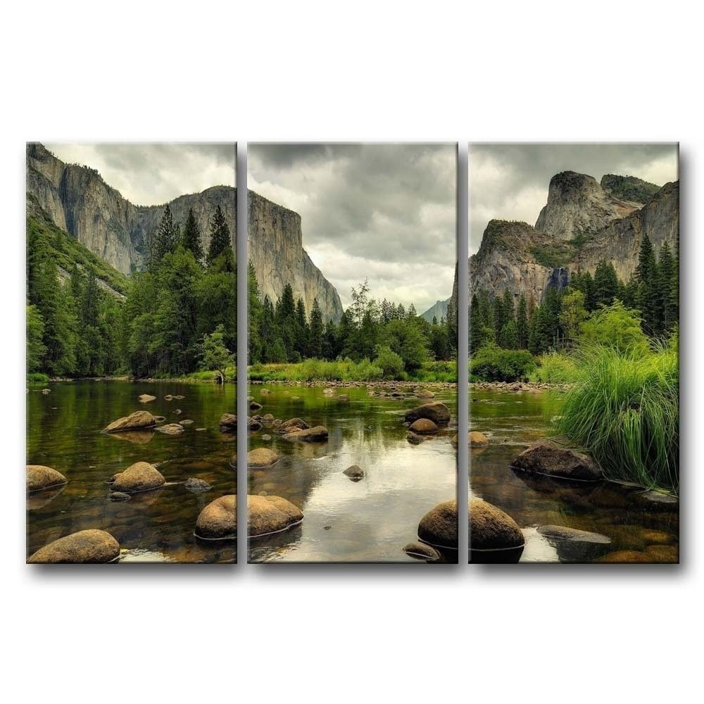 Yosemite Mountain Stream 3 Piece Wall Art Framed Print On Canvas Wall Art Canvas Painting Wall Art Pictures Green Wall Art