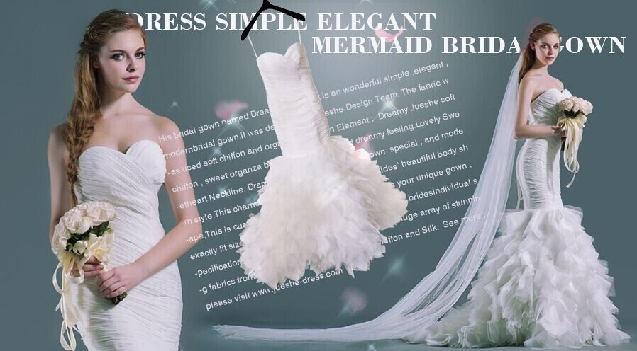 Jueshe custom made mermaid ruffles bridal gown