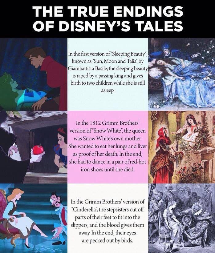 Original Fairy Tale Endings disney facts princesses