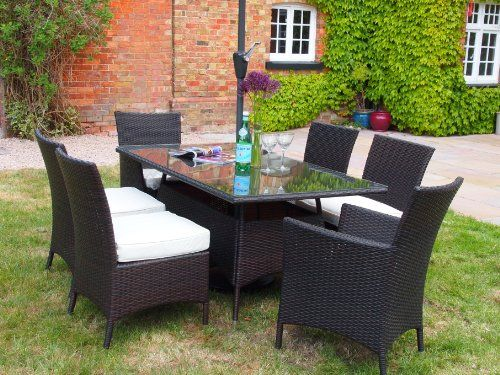 Barcelona Rectangular Grey Rattan Garden Furniture Table and 6 ...
