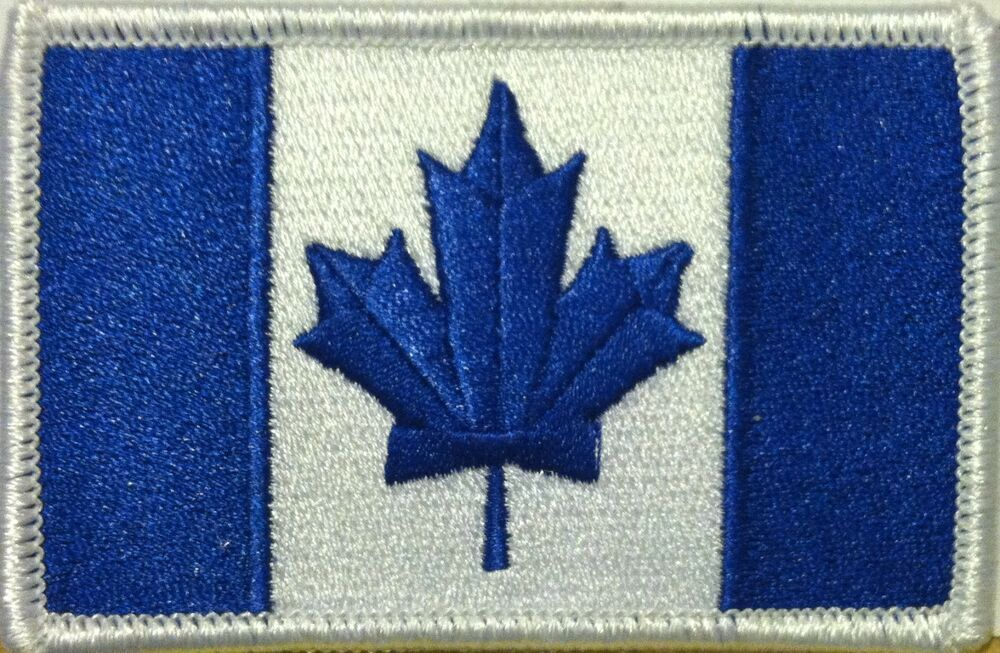 Canada Flag IronOn Morale Patch Blue & White ARMY Version