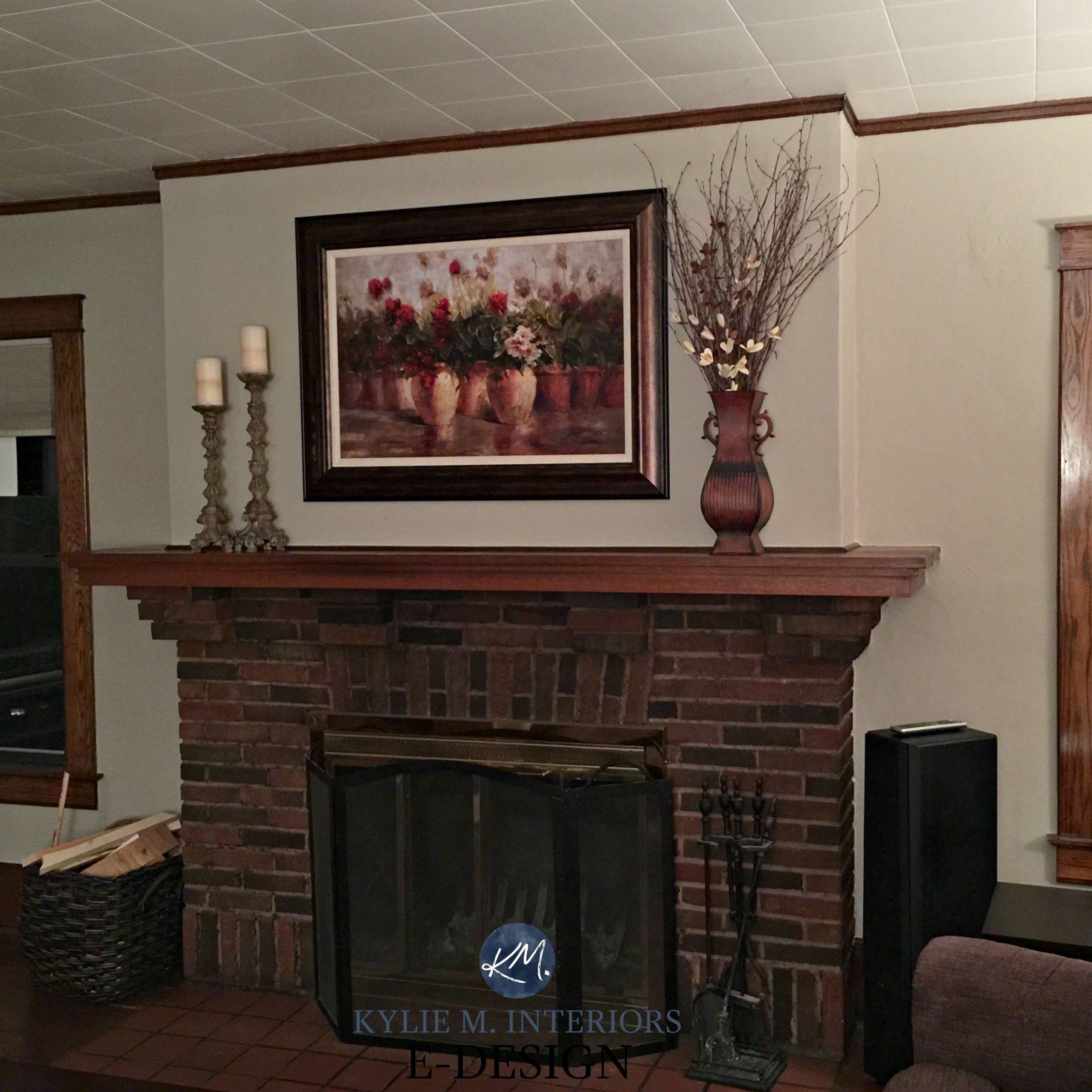 Best Paint Color For Dark Wood Trim Brick Fireplace She