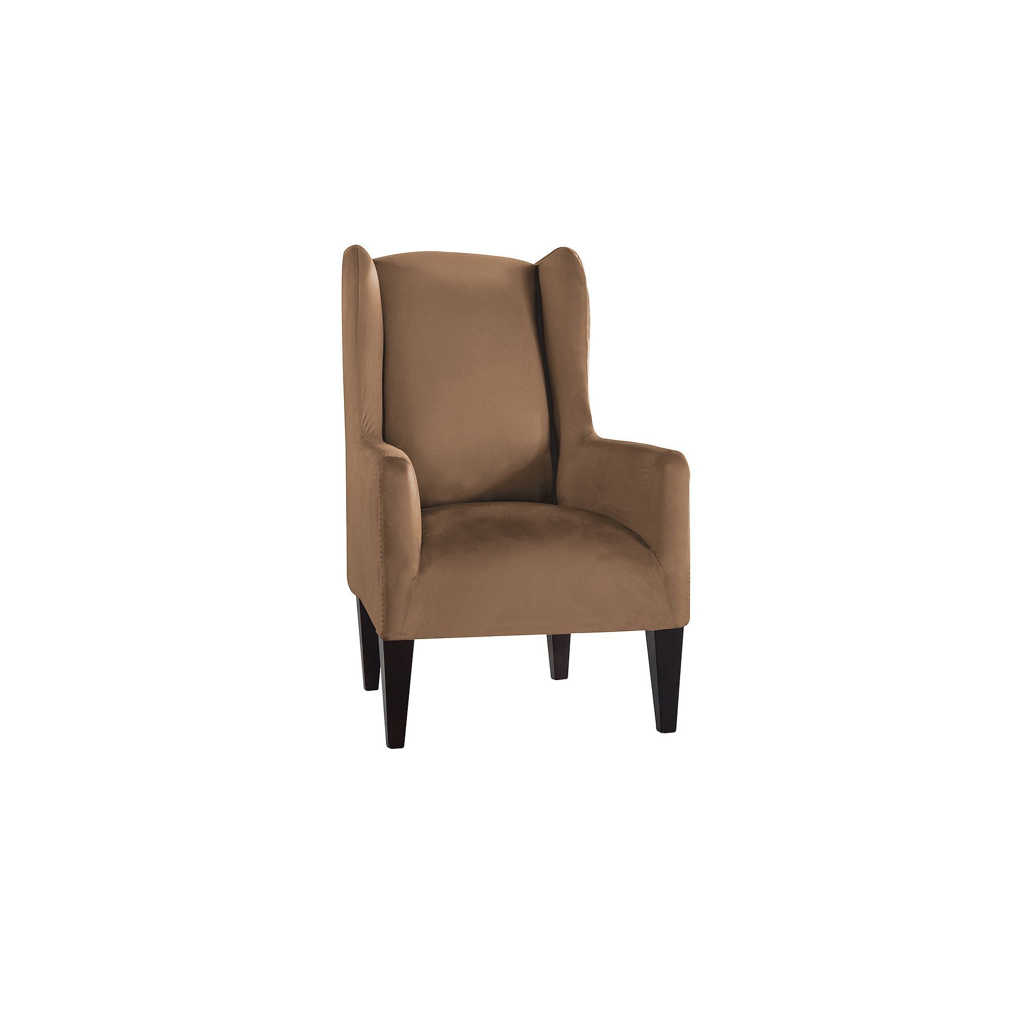 Serta Stretch Fit Wingback Chair Slipcover, Beig/Green (Beig/Khaki)