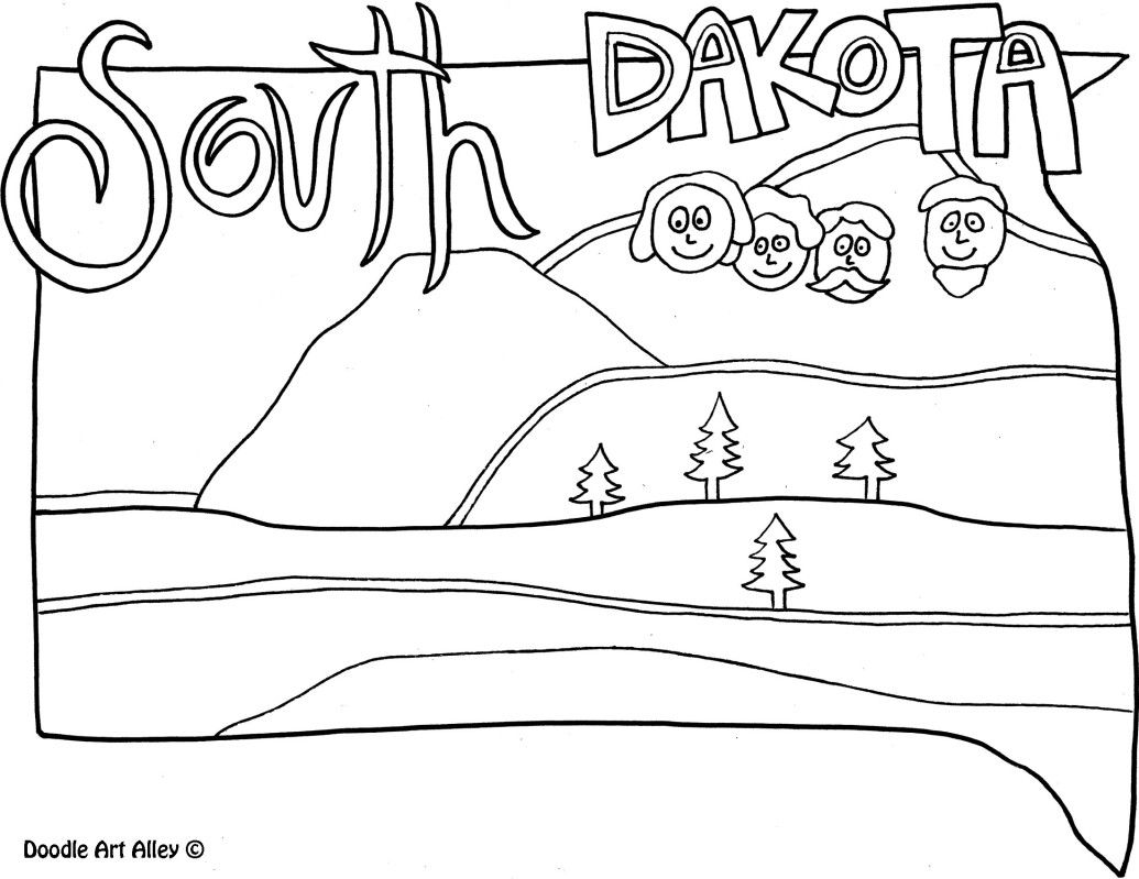 South Dakota Coloring Page By Doodle Art Alley USA Coloring - Us map with south dakota