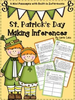 Kids love leprechauns!  What a great way to work some inferring into your St. Patrick's day fun!  With Lucky and Lucy as the characters, your students will love reading and inferring!6 Mini Passages with questions in 2 formats (multiple choice and differentiated graphic organizers)  You are able to choose which format you would like to use to assess Each mini passage has:3 differentiated graphic organizers so you can choose the level of difficulty 1 multiple choice sheet with similar ...