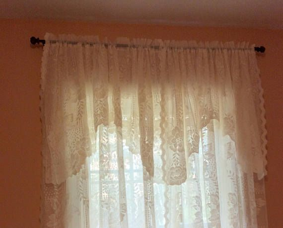 Gently Used Quality Lace Panels With Stylish Attached Valance Curtain Measure 58 Inches By 81 Each Very Decorative