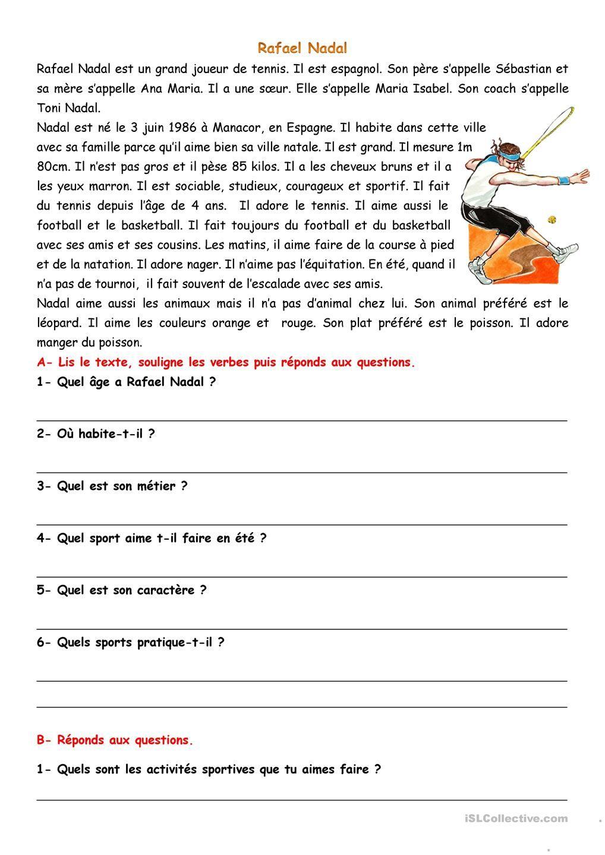 Comprehension Ecrite Activites Sportives Comprehension De Lecture Lecture Comprehension Ce2 Exercices De Comprehension